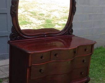 Art Nouveau Mahogany Mirrored Dresser