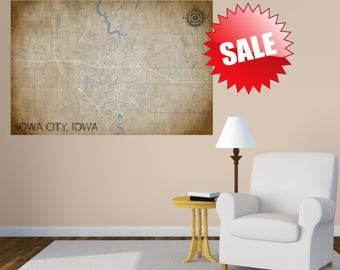 IOWA CITY Map Canvas Map Print Iowa Map Print Home Map Custom Map Anniversary Gift City Map Housewarming Gift Home Decor Travel Gift map IA