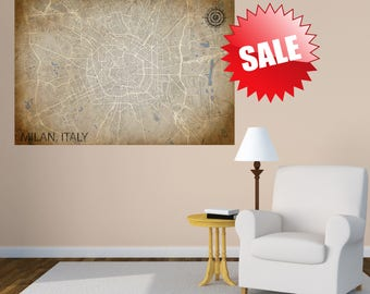 MILAN Italy CANVAS Map Milan Italy Poster City Map Milan Italy Art Print Milan Italy Europe City Map the boot ITALY map Italian Map gift