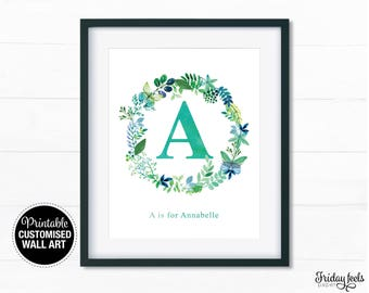 Personalised Floral wreath Name Printable Art, Nursery kids wall art girls poster digital print download