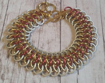 She-Ra inspired chainmaille bracelet - Crotalus weave