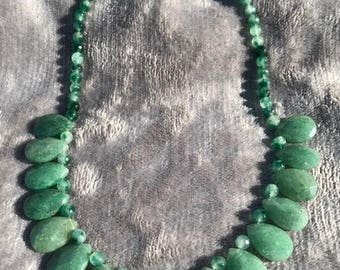 Green Aventurine Necklace with teardrop stones and beads