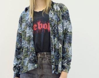 VINTAGE Blue Floral Velvet Button Downs Retro Shirt