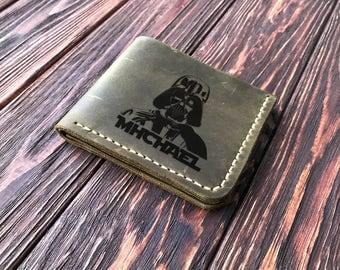 Darth Vader Wallet, Personalized Mens Wallet Star Wars Engraved Leather Wallet Mens Husband Gift, Star Wars Personalized Gift for Men k15