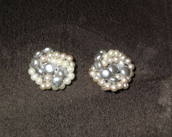 Vintage Cluster Clip On Earrings
