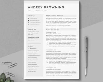 modern resume template clean professional resume template 4 pages pack instant download - Resume Formats