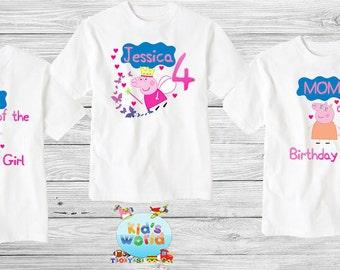 Peppa pig Family birthday shirt,Custom shirt ,personalized Peppa pig Shirt, family shirt,birthday shirt,kids custom birthday shirt d12