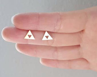 Lovely modern Triforce earring, Triforce stud earring, Bridesmaid gift, Wedding earring, Present ,Holiday gift