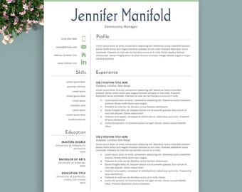 teacher resume template instant download professional resume modern resume professional cv - Download Professional Resume