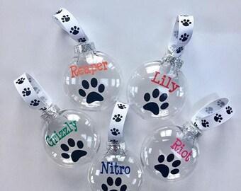 Paw Print Ornament | Dog Ornament | Pet Ornament | Personalized Pet Ornament | Pet Lover | Cat Mom| Custom Pet Gift | Dog Mom | Pet Ribbon