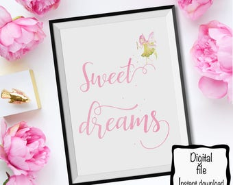 Nursery Printable Wall art. Sweet dream. 8x10 Instant Download. Watercolor Wall Art.Girl's room.Digital download .Gift.