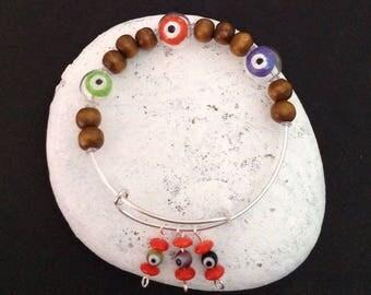 Evil Eye Bracelet, Greek eye bracelet, Turkish eye bracelet, Ancient superstition, Island bracelet, Mykonos jewelry, Trendy bracelet,