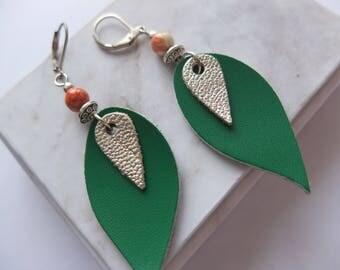 Leaf earrings (BoA05) leather