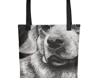 The Golden Retriever - Amazingly beautiful full color tote bag with black handle featuring children's donated artwork.