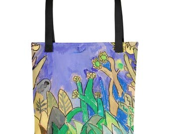 Plants by the Waters Edge - Amazingly beautiful full color tote bag with black handle featuring children's donated artwork.