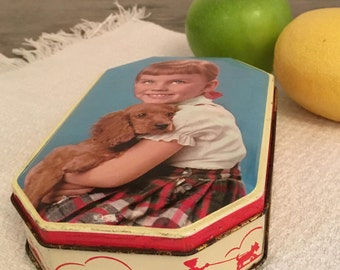 candy tin, vintage, girl and dog, some wear