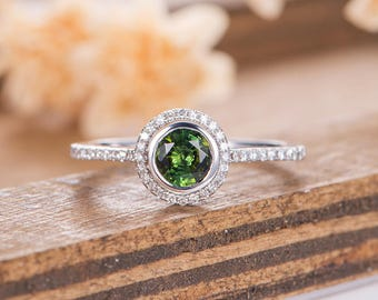 Lab Tourmaline Engagement Ring White Gold Bridal Ring Halo Diamond Promise Women Anniversary Gift For Her Promise Wedding Half Eternity