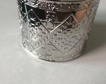 Silver tribal cuff bracelet/ silver tribal bangle