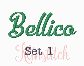 50% Sale!! Set 1 Bellico Embroidery Fonts 5 Sizes Fonts BX Fonts Embroidery Designs PES Fonts Alphabets - Instant Download