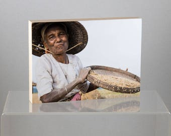 Rice Farmer, Myanmar, mounted on Wood Panel