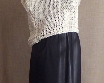 Spring & Summer Hand Knitted Cotton Rag Ribbon Tape Yarn Jumper Top in Ecru UK 8/10 Drop Shoulder