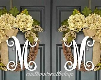 Double Door Wreaths,Farmhouse Wreath,Grapevine Wreath,Front Door Wreath,Spring Wreath,Wreaths ,Door Decoration,Hydrangea Wreath,Wreath Gift
