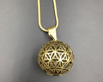 Flower of life sphere brass pendant.