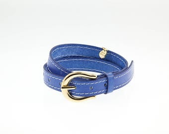 Italian leather Double Bracelet with Buckle Gold Finish. M-149-O