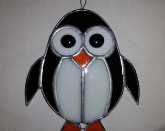 Stained Glass Penguin - Black