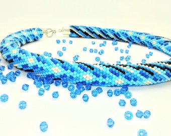 Blue Bead Crochet Rope Necklace