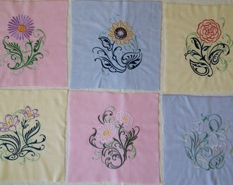 6 Large Floral Quilt Blocks. Machine Embroidered