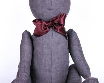 Handmade stuffed Bear Toy grey 19 inches Loco Coco Gifts