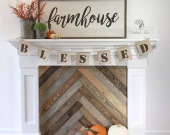 Faux Farmhouse Rustic Fireplace Mantle White with Rough Sawn Gray Brown Stain in Herringbone Pattern Large Wall Decor
