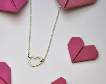 Heart sterling silver necklace - Heart gift - Love jewelry