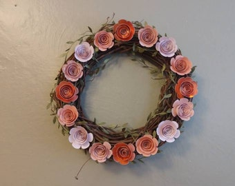 """12"""" Spring Wreath with Grapevine and Paper Flowers"""