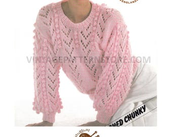 "Ladies, 1990s, round neck, chevron eyelet lace & bobble cable puff sleeve sweater - 32"" - 42"" chest - Vintage PDF Knitting Pattern 688"