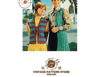 "Ladies, 1970s, V neck, long and short waistcoat, sleeveless cardigan - 32"" - 38"" chest - Vintage PDF Crochet Pattern 383"