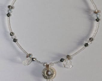 Ceramic and gray Swarovski Crystal and Crystal adjustable necklace