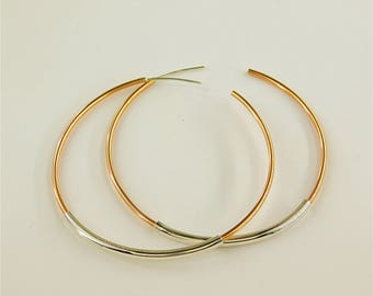 Big Hoop Earrings, Big Earrings, Copper earrings, Silver Hoops, Large and Thin Hoop earrings, Thin hoop earrings, Stylish hoops