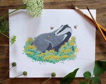 Hufflepuff badger and bees original painting