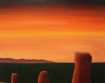 Sunset Over 3 Standing Stones