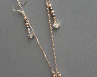 Custom handmade beaded necklace and matching earings