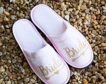 Personalized bride slipper, bridesmaid slippers, party slippers, spa day slippers, bridesmaid gift slippers, mother of the bride slippers