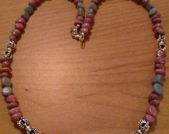 Rhodonite and Black Spotted Feldspar Necklace