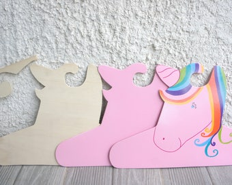 Unicorn Rainbow baby Unicorn wooden decor Unicorn baby coat hanger wood Unicorn decor nursery baby girl, plumesetconfettis