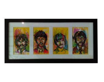 "Work ""Beatles"" in acrylic technique on Cartilina and small format."