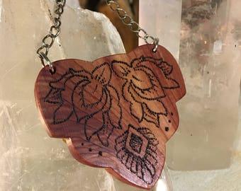 Double Lotus Cedar Wood Necklace