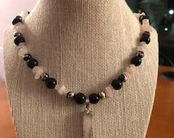 Black and Silver Necklace with Druzy Stone