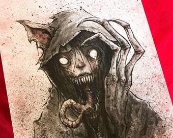 Demon Kitty -- original pen and ink illustration