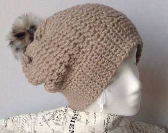 Hat with fur Pom Pom, slouch hat, ladies crochet hat